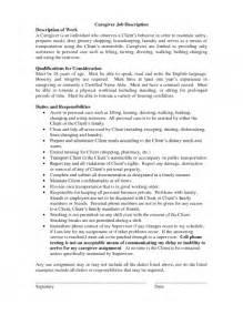 caregivers duties for resume resume for a caregiver