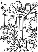 Coloring Treehouse Building Ducks sketch template