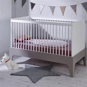 Lit bebe evolutif 70x140 elvi blanc gris elvilinm01b for Suspension chambre enfant avec matelas 160x200 haut de gamme