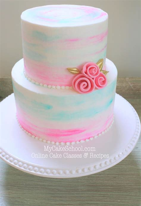 buttercream cake decorating watercolor cakes tutorial mycakeschool