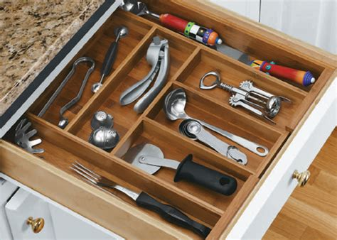 bamboo expandable flatware organizer  kitchen drawer