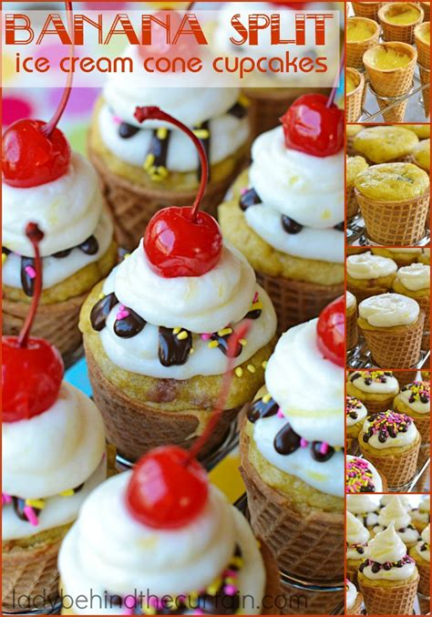banana split ice cream cone cupcakes