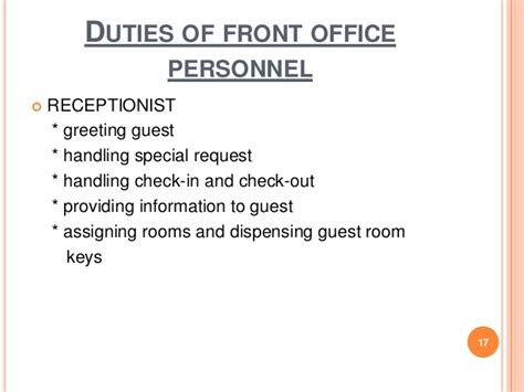front desk officer duties and responsibilities chapter 1 front office practice