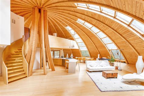 wood home interiors flying saucer shaped house takes design to heights