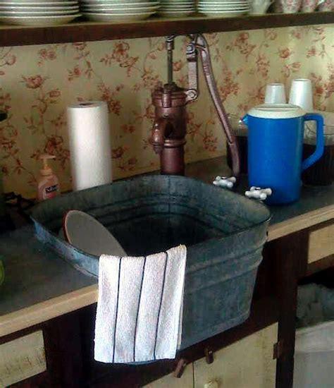 simple rustic functional washtub sink