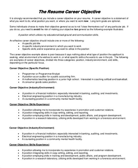 General Objective For Resume Internship general resume objective sle 9 exles in pdf