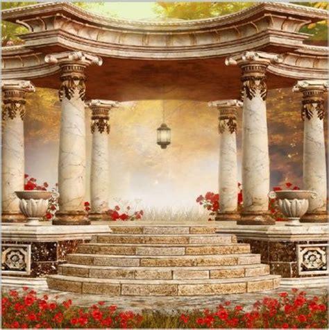 red flowers garden greek columns pillars steps background