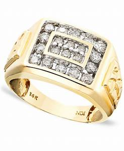 men39s 14k gold ring diamond 1 ct tw rings With macys mens wedding rings