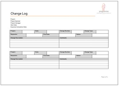 change log template excel printable schedule template