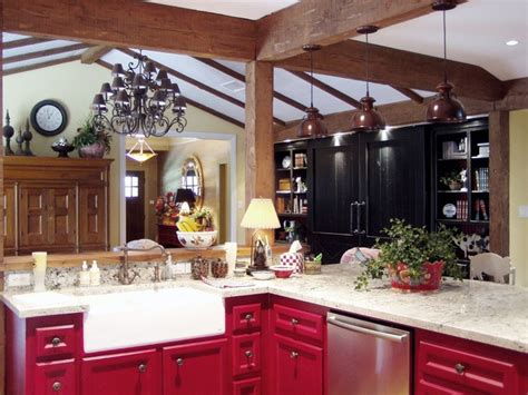 Red Country Kitchen  Farmhouse  Kitchen  Houston By