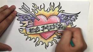 Pencil Drawings Of Hearts With Banners And Wings - Drawing ...
