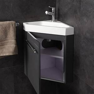 Lave Main Angle : meuble lave main de coin gris pas cher planetebain ~ Melissatoandfro.com Idées de Décoration