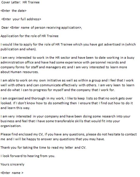 Cover Letter For Audit Trainee by Hr Trainee Cover Letter Exle Icover Org Uk