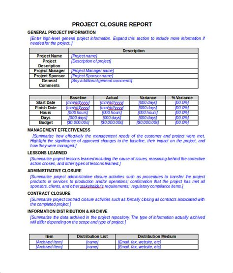 project closure report template  documents   word