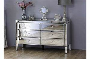 Venetian, Mirrored, Low, Wide, 6, Drawer, Chest, Mirror, Finish, Bedroom, Furniture