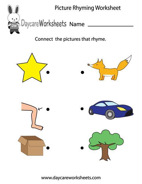 preschool picture rhyming worksheet