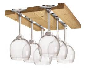 wine glass holder stemware rack under cabinet wood storage
