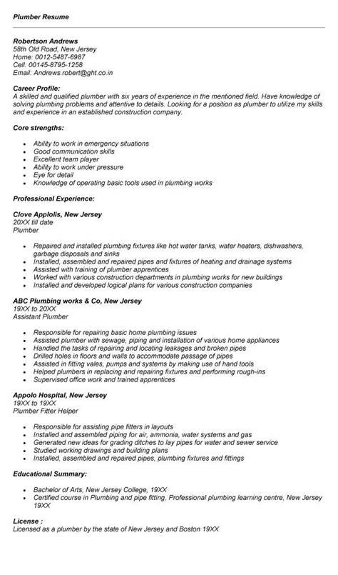 Plumber Resume Exles by Plumber Resume Diy Resume Sle Resume Resume Exles