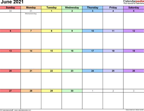 june calendars word excel