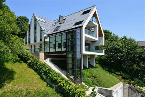 steep slope house plans gorgeous glass elevator connects levels on slope