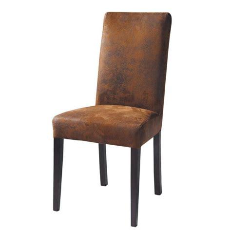 chaise imitation cuir et bois marron arizona maisons du