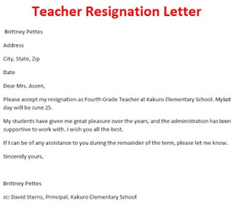 resignation letter template october