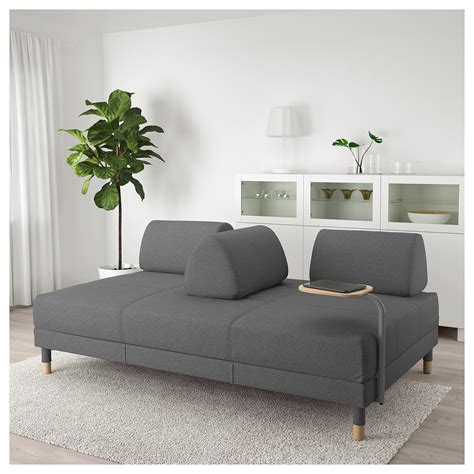 FLOTTEBO Sofa-bed with side table Lysed dark grey 120 cm