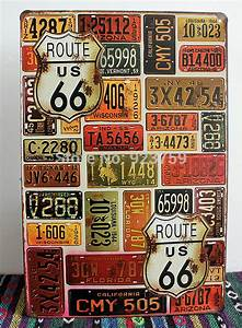 Route 66 car plates painting Vintage Tin Sign Bar pub home