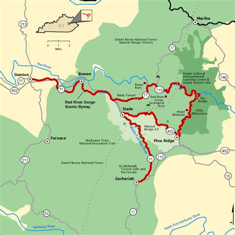 red river gorge scenic byway map americas byways