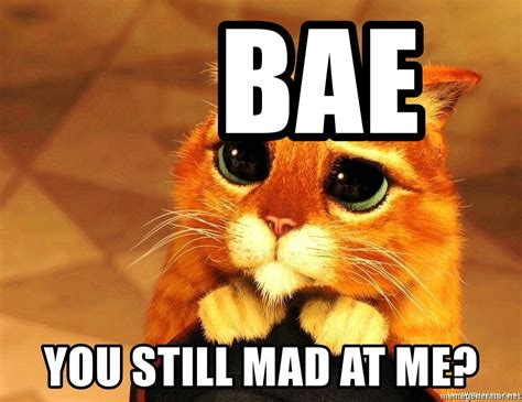 Are You Still Mad Meme - bae you still mad at me puss in boots big eyes meme generator