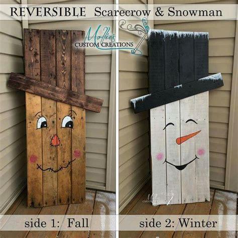 reversible scarecrow  snowman pallet pictures