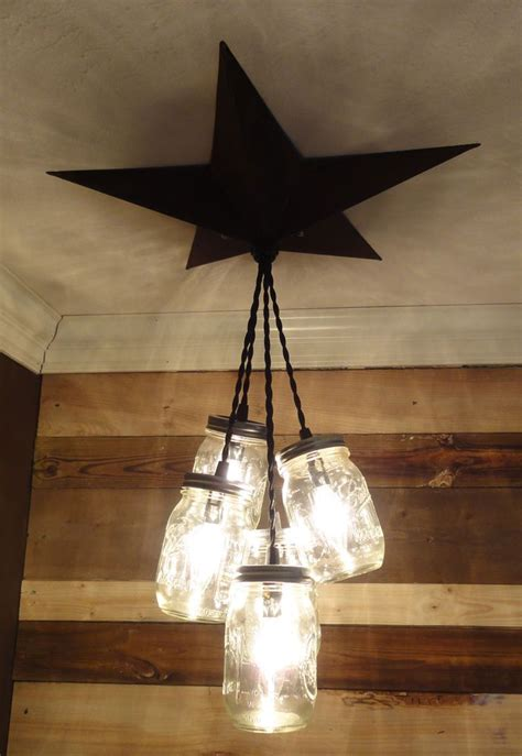 diy rustic pendant light details about mason jar chandelier barn star country