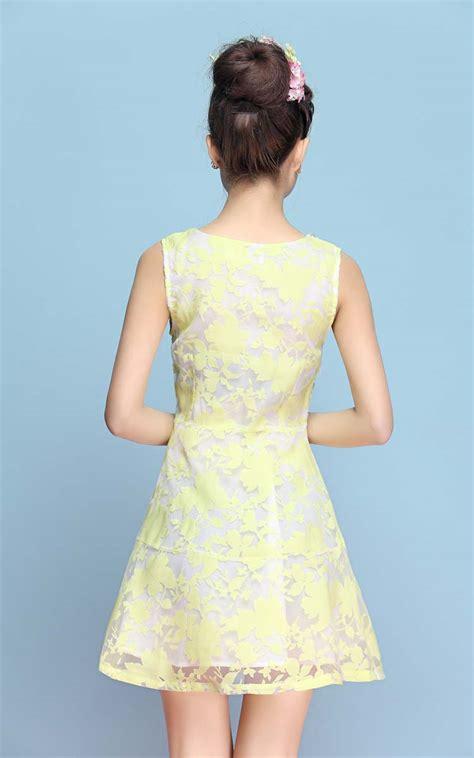 dress kuning motif daun cantik  myrosefashioncom
