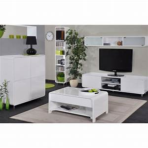 table basse san francisco blanche With table basse et meuble tv assortis