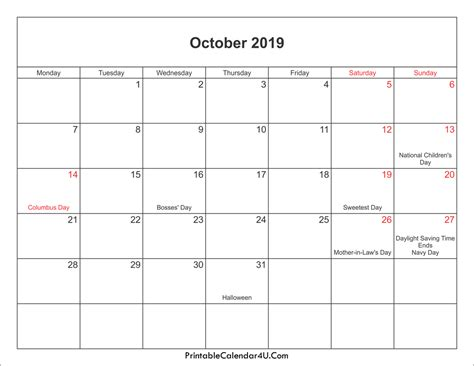October 2019 Calendar Printable With Holidays Pdf And Jpg