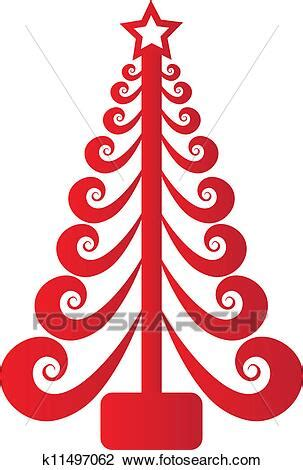 christmas tree red swirly vector clipart