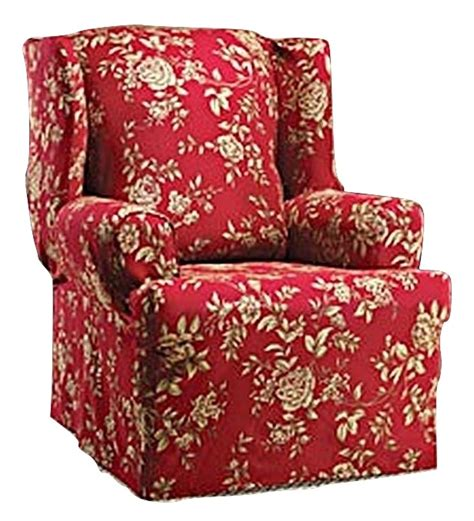 wingback chairs wing chair slipcover floral burgundy wingback sure fit