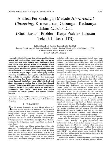 (PDF) Analisa Perbandingan Metode Hierarchical Clustering