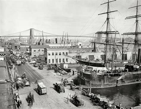 New York Circa 1901 South Street And Brooklyn Bridge