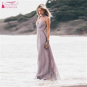 gray sexy spaghetti beach bridesmaid dresses soft chiffon With cheap dresses to wear to a wedding