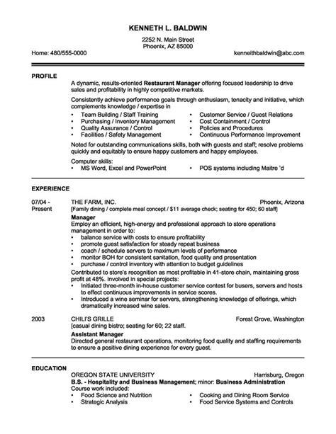 Manger Resume by Restaurant Manager Resume Sle Http Topresume Info
