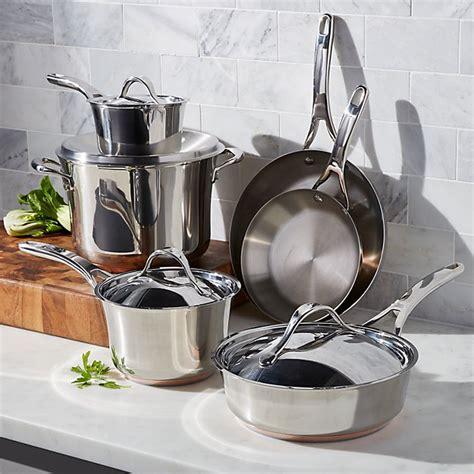 anolon nouvelle copper stainless steel  piece cookware set crate  barrel