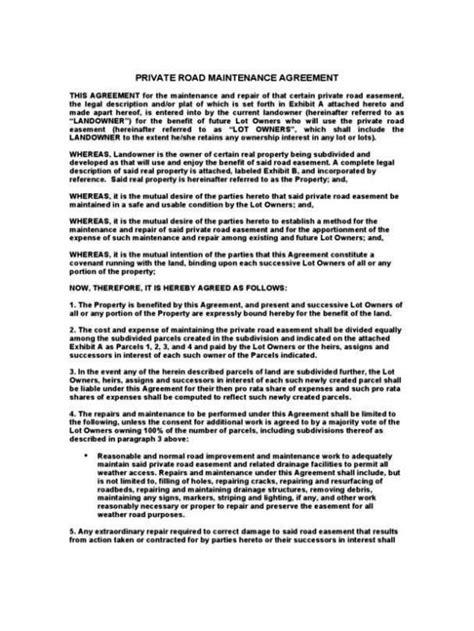 private road agreement template sampletemplatess