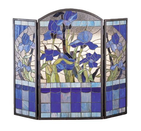 stained glass fireplace screen meyda 27236 iris fireplace screen