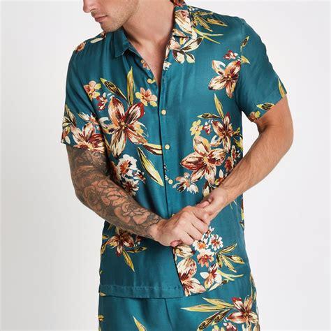 teal mens shirt blue sleeve floral print shirt sleeve shirts