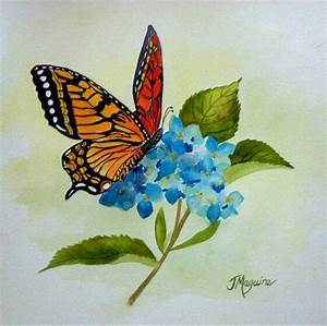 Monarch Butterfly on Hydrangea watercolor by Joan Maguire ...