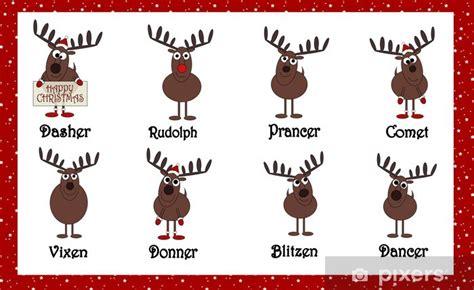 aufkleber santas rentiere cartoon mit namen pixers