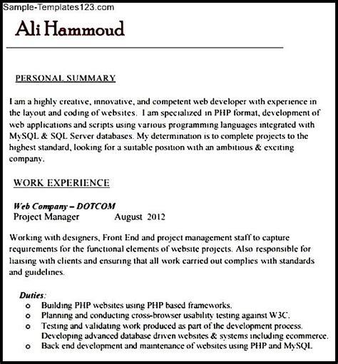 php developer resume template sle php developer resume template sle templates