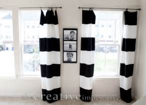 black and white horizontal striped curtains made from