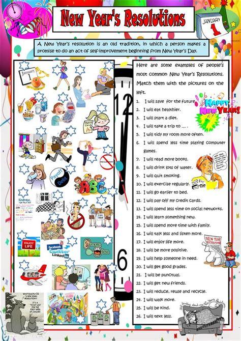 years resolutions worksheet  esl printable